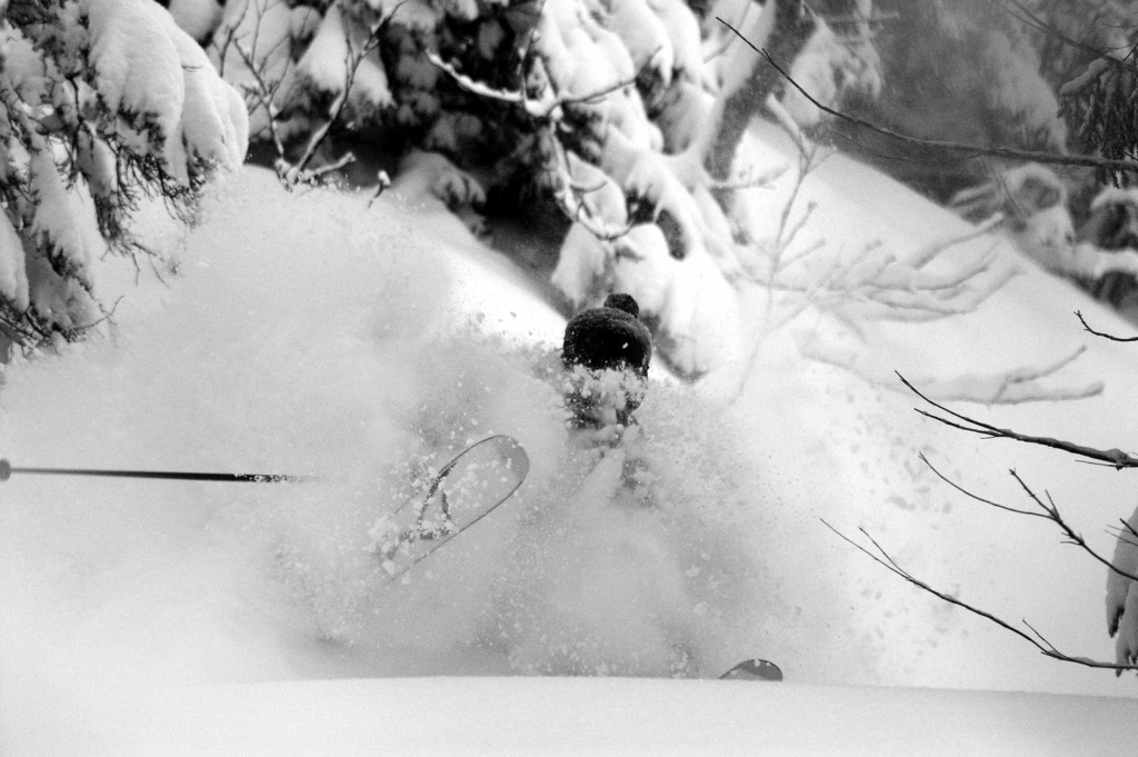 A skier covered in powder snow.